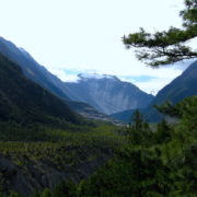 On the way to Manang at Annapurna Circuit Trekking