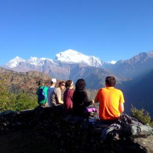 Enjoying the view of Mount Dhaulagiri