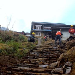 Earthquake destruction road construction