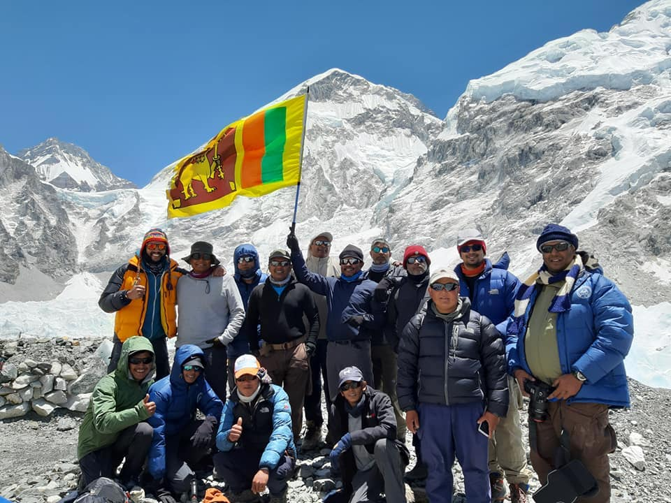 Srilankan team at Everest Basecamp Nepal